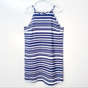 Blue & White Striped Dress Tank Tie Back Medium